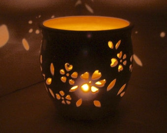 Ceramic Luminary/Candle Holder, Wheel Thrown, Hand Carved Vinca
