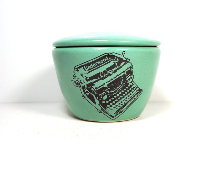lidded bowl glazed in Blue Green, with an Underwood Typewriter print. Made to Order / Pick Your Colour