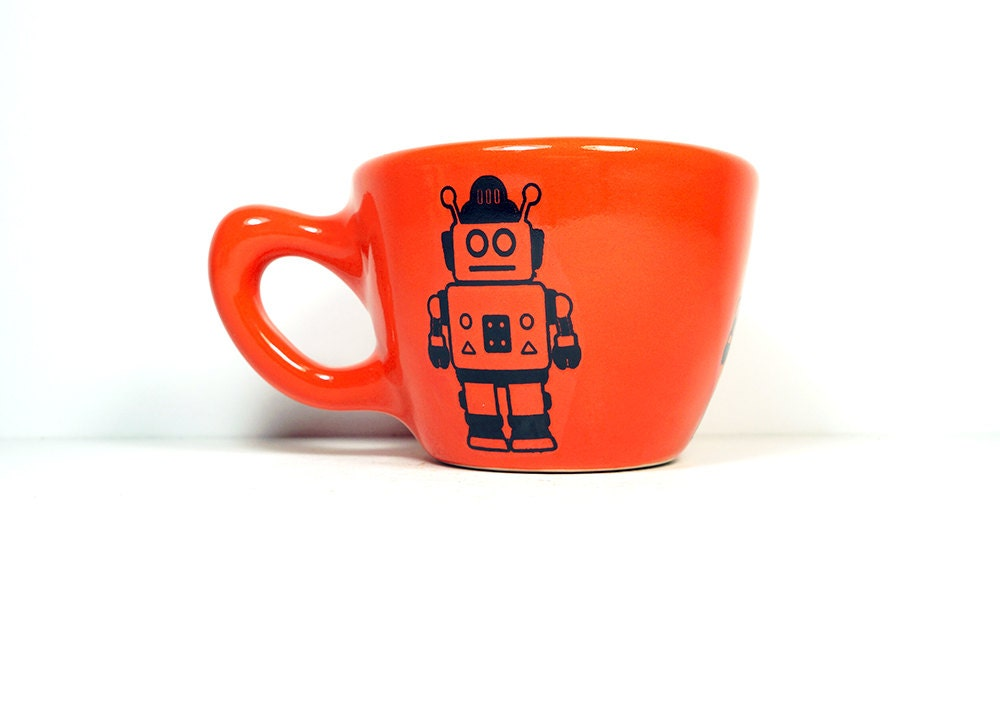 12oz cup with a Robot print, shown on Clementine glaze - Made to Order/ Pick Your Colour