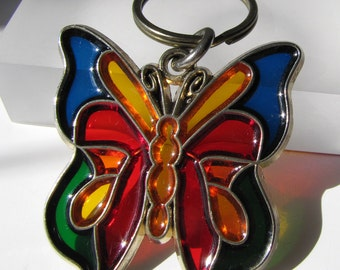 Vintage - Butterfly - Stained Glass Effect - Keychain - Key Ring