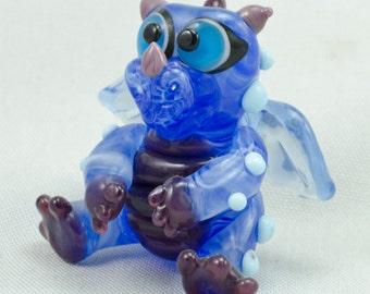 Baby Dragon Blue Purple Lampwork Focal Bead Sculptured Glass by Annette Nilan DITS