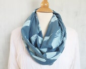 Infinity Scarf with Feathers - Organic Cotton - Dusty Blue