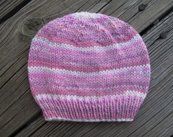 Knit Baby Girl Hat Self-Striping Soft Acrylic Hand-Knitted  (newborn to three months) OOAK