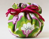 jewelry pouch - magenta flowers on grass green, jewelry roll, jewelry case, spring, magenta cord, pink, travel jewelry case, jewellery case