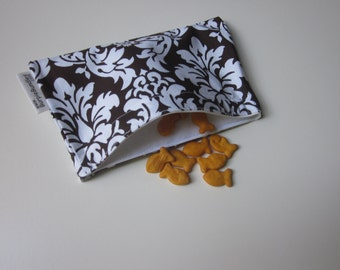 SNACK BAG Brown and White Damask one Small Waterproof Washable Reusable Snack Bags