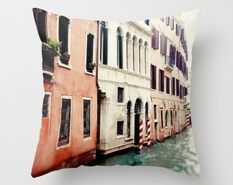 decorative pillow cover, venice italy photography, throw pillow, home decor, europe, travel, architecture, landscape