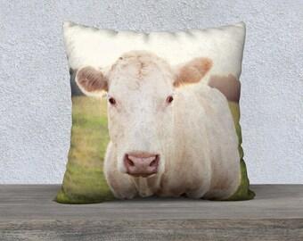 rustic home decor, farm animal photography, photography pillow cover, throw pillow, cow photography, cow pillow, farmhouse decor