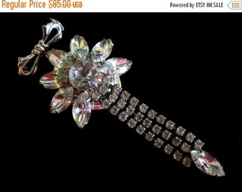 ON SALE Vintage Rhinestone Bridal Bouquet Locket Brooch