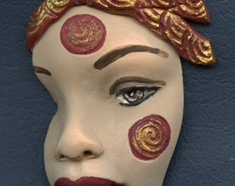 "Polymer Clay One of a kind Large 3"" x 2""  Tribal Face Shard LAFP 1"