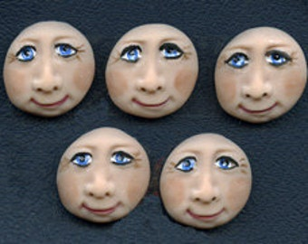 Lot of 5 Polymer Blue Eyed Face Cabs Undrilled  RFC 5