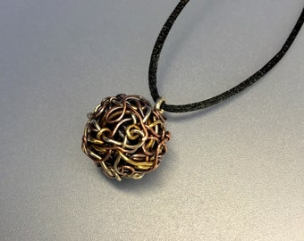 Ball Pendant, Woven Mixed Metals, Copper, Brass, Sterling