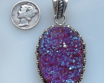 Violet Metallic Titanium Druzy Crystal Quartz, 27mm x 40mm Silver Pendant with Bail