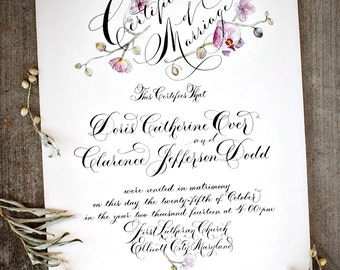 Marriage Certificate, Wedding Certificate, Custom Calligraphy, Watercolor Design