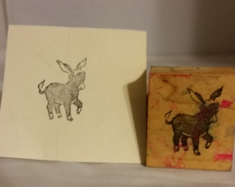 Adorable Donkey Wood Block Rubber Stamp