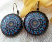 Small Blue Mandala leverback earrings - bronze *Free Shipping*