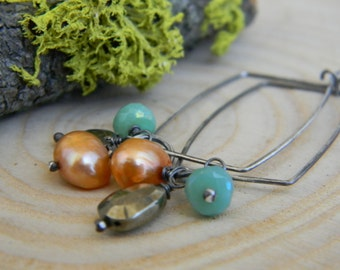 rustic silver rectangle hoops with pyrite, mystic chrysoprase and orange pearls - earrings - oxidized silver