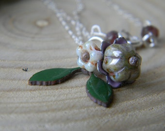 Spring bouquet necklace - sterling silver - enamel and czech glass
