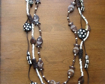CIJ 35% OFF Tribal Necklace Set, African Horn Beads,  Mother of Pearl, Tribal Jewelry, Ethnic Jewelry,