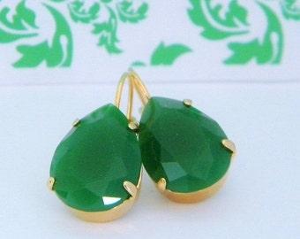 SALE Emerald Jade Green Glass Gold Leverback Earrings