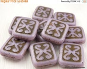 25% OFF Summer Sale Czech Picasso Beads - Lavender Picasso Rectangle Beads - 12mm 10 Beads