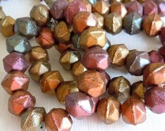 English Cut 10mm Czech Glass Pressed Beads Bronze Iris - Full Strand 15 Beads (ECD)