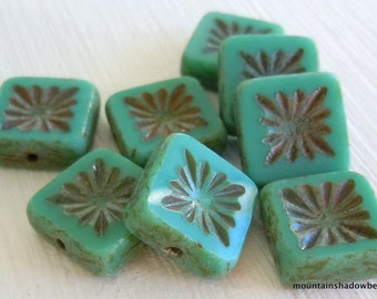 Czech Glass Beads 10mm Square Beads Opaque Turquoise Picasso - 8 (G - 641)
