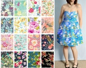 Custom Strapless Dress with Pockets - Bright Large Floral Print Cotton Bridesmaid Dresses