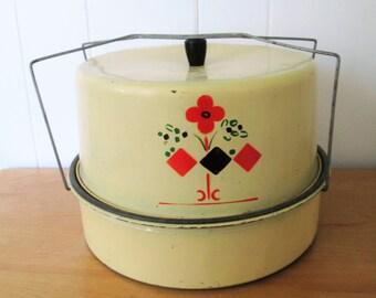 vintage double decker metal cake carrier