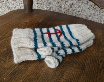 Ivory and Teal Anchor Mitts - Fingerless Mitts