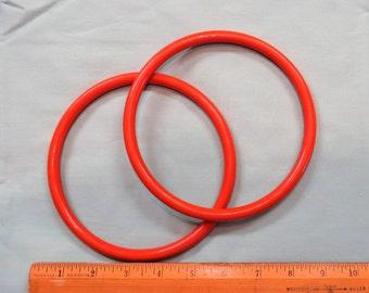 "Pair Plastic Purse Handles Orange Circle 6"" Round Vintage"