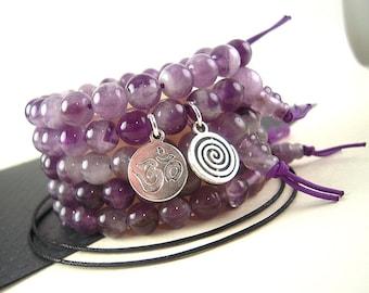 Amethyst Mala Beads, 8mm, Wrist Mala Beads Bracelet Kit, Silver Charm Option, Natural Gemstone, Yoga Bracelet Beads, Zen Prayer Beads WD20