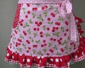 Aprons - Apron with Cherry Fabric - Sweet Cherry Apronss - Handmade Aprons - Annies Attic Aprons