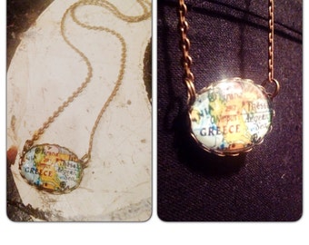Vintage Greece Map Necklace - Map jewelry - Olympus - Aegean Sea - Greek Jewelry - Greek Jewelry - Greek Map