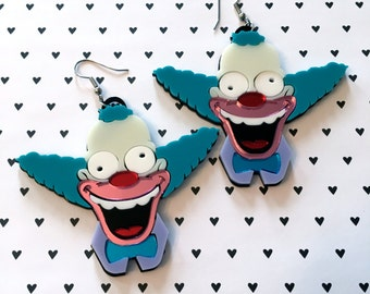 Krusty the Clown Laser Cut Acrylic Laser Cut Earrings