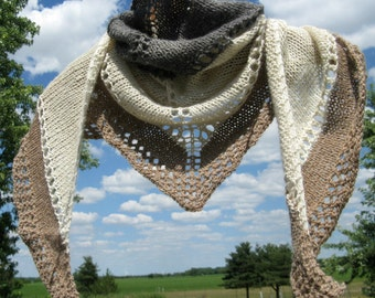 RESERVED FOR JACKIE - Alpaca Shawl, Hand Knit Gray, White and Tan Wool Shawlette, Triangle Wrap for Women