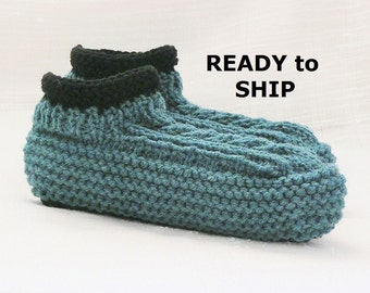 Womens Slippers, Teal Blue and Black, Low Cuff, 7.5 - 8.5 Knitted Bedsocks