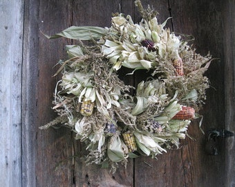 natural CoRN HuSK WReATH DECORATED  with Indian corn COBS for wall or door decoration #5