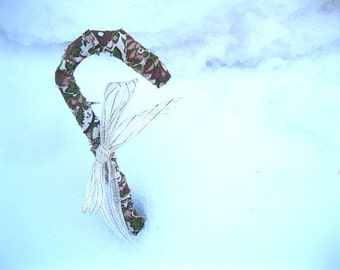 Fabric CANDY CANE hanging  ornament  Harvest Green