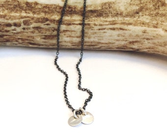 Twinkle Necklace - Bright Silver and Dark Silver Circle Necklace - Handmade by Queens Metal