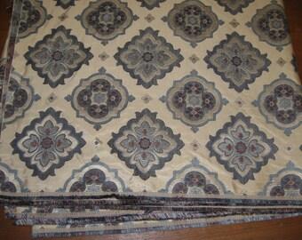NEW-Blue's on Light Tan Home Decor Fabric-Damask Like Design-2.5yds-Upholstery Cornice Decor (#83)