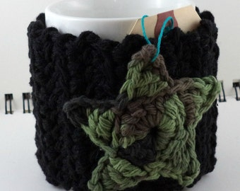 Crocheted Coffee or Ice Cream Cozy in Black with Camouflage Star and Black Button (SWG-H02)