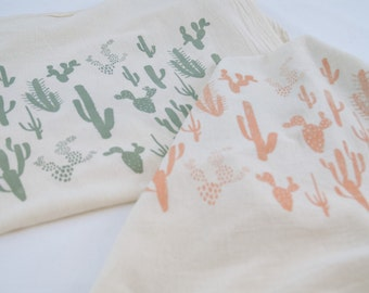 Cactus Screen-Printed Tea Towels