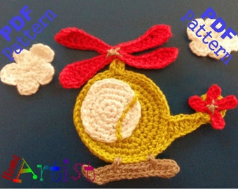 Helicopter crochet Applique Pattern