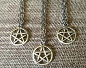 SUMMER SALE Tiny Pentagram Necklace - Silver Pentagram Pendant on Silver Cable Chain - Jewelry for Witches - Wiccan Jewelry