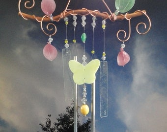Stained Glass Wind Chime, Tree Branch, Glass Sculpture, Garden Art, Home Decor, Garden Decor, Butterfly, Vintage Glass Leaves and Pedals