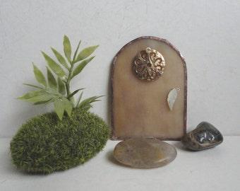 Fairy Door, Stained Glass, Garden Sculpture, Outdoor Garden Art, Home Decor, Hand Painted, Faerie House, Miniature, Terrarium, Fae Portal