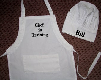 Child Size Chef Apron and Hat.  Personalize it.