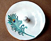 Ceramic Wedding  Ring Holder Bowl Off White 3 1/4 inches round Peacock Feather