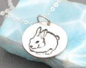 Tiny Round Bunny necklace eco-friendly round nickel free white bronze pendant. Handcrafted by Chocolate and Steel