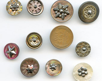 Lot of (10) Special Victorian Buttons with Shell circa 1880 Mother of Pearl MOP Cut Steel Vintage Antique Edwardian 2825